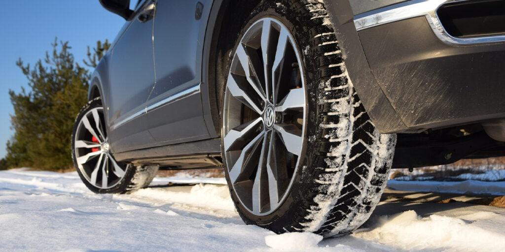 winter tires on a car in Winnipeg