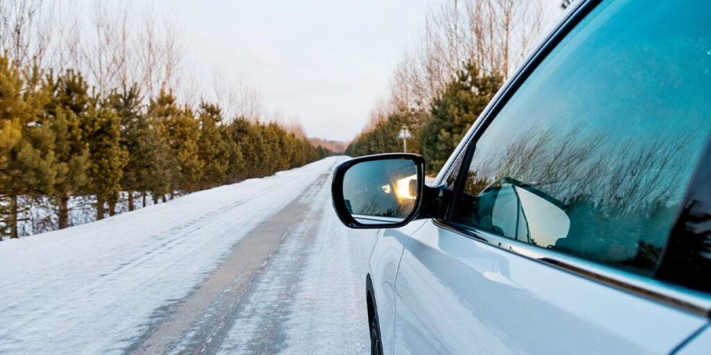 a car driving in winter in Winnipeg